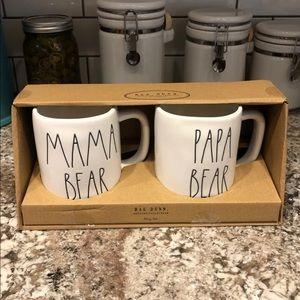 Rae Dunn mama bear and papa bear mugs